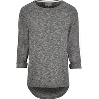 River Island MensDark grey roll sleeve t-shirt