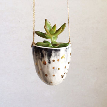 Hanging Planter with Gold - Gold Ceramics - Small Succulent Planter - Gold Housewares