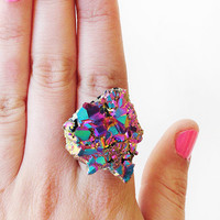 SCILIA rainbow crystal ring