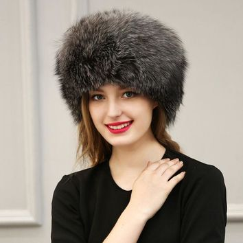 ICIKJG2 Winter Faux Fox Fur PU Leather Hat Cap Women White Warm Soft Solid Color Hat Ear Protection Patchwork  Pompoms Thick Hats