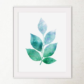 Leaves art print, Leaves wall art, Bathroom wall decor Printable wall art, Modern nature art print, Blue and Green art print, Printable art