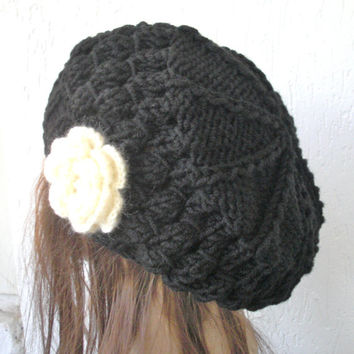Winter Hand Knit Hat Beehive beret in Black Womens Hat Flower Slouchy Beanie Beret Christmas Winter Accessories fashion French