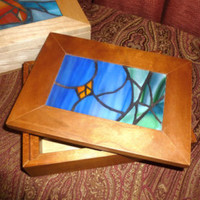 Blue Violet Mosaic Jewelry Box, Stained Glass Violet Jewelry Box