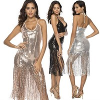 Womens Sexy Dress Fringed Sequins Sexy Nightclub Dress Amazon Summer Hot Sale 3 Colors Asian Size S-XL