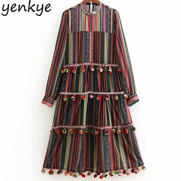 European Style Women Pompoms Trims Ethnic Vintage Striped Dress Lady O Neck Long Sleeve A-line Midi Dress Chiffon Autumn vestido
