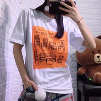 """Loewe"" Women Fashion Chair Letter Pattern Print Short Sleeve Casual T-shirt Top Tee"