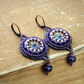 Daughter gifts for women gift for her Purple Floral earrings Violet Boho earrings Lilac earrings Dangle earrings beaded Embroidered earrings