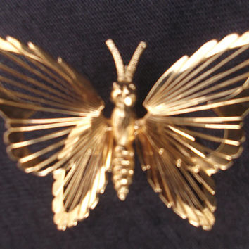 Beautiful butterfly gold tone brooch by Monet