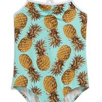 Girl's Stella Cove Pineapple Print One-Piece Swimsuit