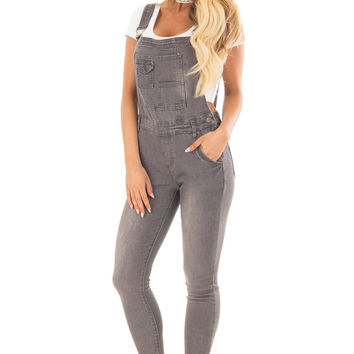 Grey Multi Pocket Skinny Denim Overalls