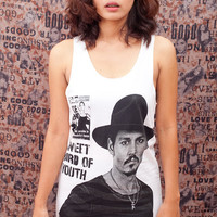 Johnny Depp T Shirt Fashion Celeb Pop Art Indie Sweet Bird of Youth Women White T-Shirt Vest Tank Top Singlet Sleeveless Size S M