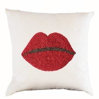 "Amore Beaute Decorative Throw Pillow Cover in White Linen Handcrafted with Beads - Lips Pillow Case - Pop Art Designer Pillow Cover - Gift (14"" x 14"")"