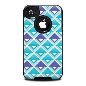 The Triangular Teal & Purple Abstract Cubes Skin for the iPhone 4-4s OtterBox Commuter Case