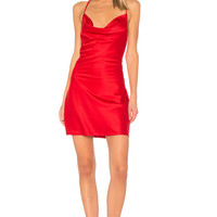 WYLDR Superstitious Cowl Neck Slip Dress in Red
