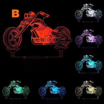 Creative 3D LED Motorcycle Model Night Lights with 5V USB Cable for Home Art Decoration