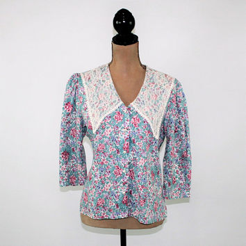 70s Blouse Romantic Floral Top Lace Collar Button Up Boho Prairie Blouse Women Medium Fritzi 1970s Vintage Clothing Womens Clothing
