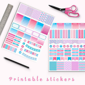 50% OFF Girly Stickers Printable Planner Stickers Erin Condren Kikki K Box Stickers Page Flags Weekend Banners To Do Stickers Weekly Kit