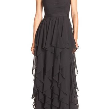 Adrianna Papell Strapless Ruffle Chiffon Gown | Nordstrom