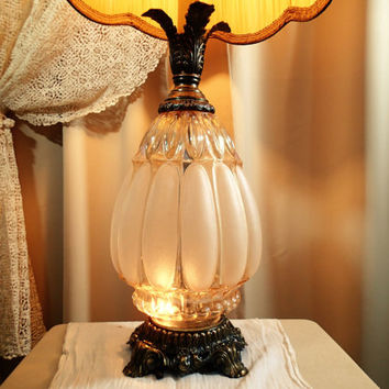 Hollywood Regency Textured Glass Lamp -Light Amber pressed Glass, Mood light, Ornate brass, L&L WMC 1971