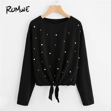 ROMWE Black Pearl Beaded Knot Front Tee Women Casual Tee Shirt Clothes Womens Long Sleeve Tops Clothing T-Shirts