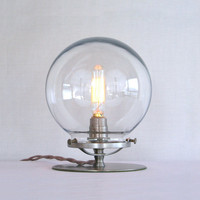 Clear Glass Globe Table Lamp - Steampunk Table Lamp - Clear Globe Empyrean Lamp - Modern Vintage Lighting