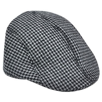 Topro Men's Country Tweed Flat Hat Herringbone Wool Peak Cap Quilt Lined Color Black & Grey