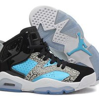 Hot Nike Air Jordan 6 Retro Women Shoes Black Blue Grey