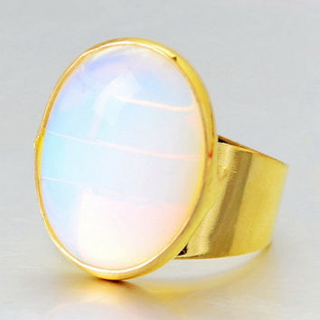 New Oval Natural Quartz Stone 20*17mm Women Rings Semi Precious Stone Jewelry Druzy Opal Crystal Ring Gold Plated Jewelry Gift