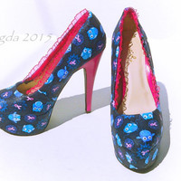 "Pink and Blue ""Give a Hoot"" Breast Cancer Awareness Heels - OWLS"