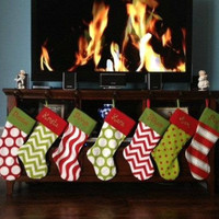 5 PERSONALIZED CHRISTMAS STOCKINGS ...Embroidered.... Choose from 24 Fabrics