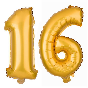 16 Non-Floating Number Balloons - 13 Inch Gold