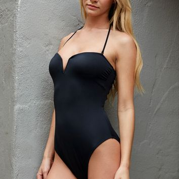 LA Hearts V Front Lace Up Back One Piece Bathing Suit Swimsuit - Womens Swimwear - Black
