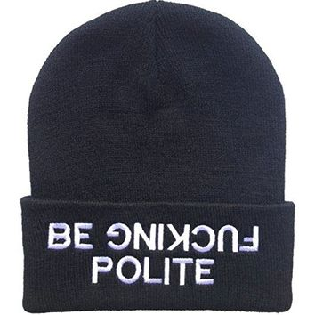 YOXO Warm Black Be Fucking Polite Beanie Hat for Men and Women Winter Cap Skully Letter Beanie