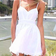 White Spaghetti Strap Backless Skater Dress