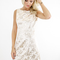 Champagne Brocade Print Sheath Dress