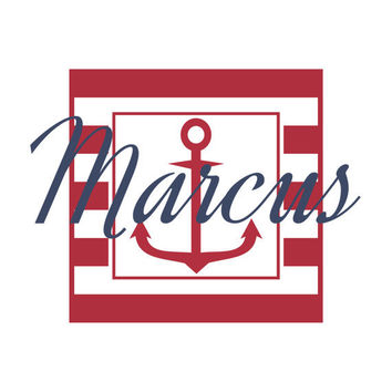 Personalized Vinyl Nautical Theme Name Wall Decal - Sailboat Anchor & Stripe Border - Baby Boy Nursery Toddler Teen Room 22H x 32W BN021