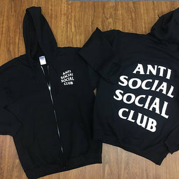 Anti Social Social Club Zip Up Black Hoodie Mind Games/ Hypebeast ,ASSC,Kanye West -i feel like pablo-yeezy hoodie Anti Social Social Club