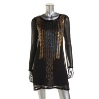 Yoana Baraschi Womens Gauze Sequined Cocktail Dress