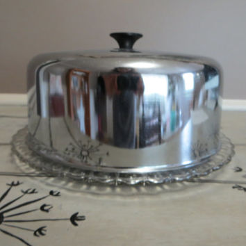 Glass Cake Plate with Lid Appetizer Plate Chrome Cake Server Vintage Kitchen Covered Cake Plate Vintage & Best Glass Cake Covers Products on Wanelo