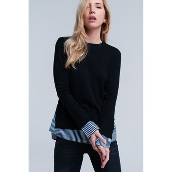 Black 2 in 1 knitted sweater with stripe detail