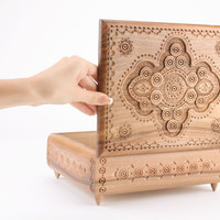 Large handmade decorative jewelry box made of wood beautiful unusual gift ideas