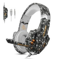 ECOOPRO Stereo Gaming Headset for PS4, Xbox One, PC, Professional 3.5mm Noise Isolation Over Ear Headphones with LED Lights, Mic & Volume Control perfect for Laptop Mac iPad and Phones (Camouflage)
