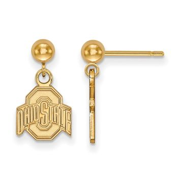 NCAA 14k Gold Plated Silver Ohio State University Ball Dangle Earrings