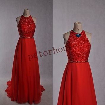 Sexy Beaded Long Prom Dresses with Peacock Neckness,Formal Evening Gowns,Fashion Party Dresses,Wedding Party Dresses,Beaded Prom Dresses
