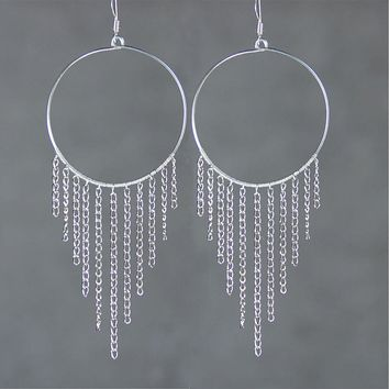 Sterling silver chandelier hoop earrings handmade US free shipping Anni Designs