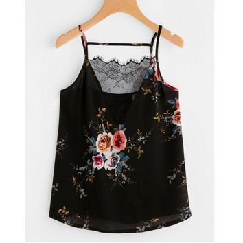 Polyester Lace Floral Print Camisole Top