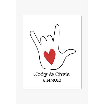 Art Print: Personalized Love Sign Language With Couples Names and Date