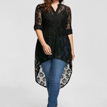 Women's Plus Size High Low Black Lace Blouse.   Really Pretty and Feminine.   In Sizes XL to 5XL.   ***FREE SHIPPING***