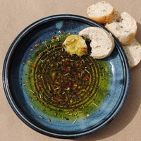Garlic Grater  Oil Dipping Dish  Recipe Included  by nealpottery