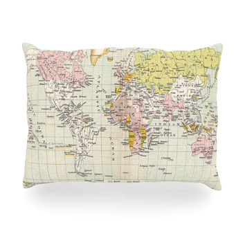 "Catherine Holcombe ""Travel"" World Map Oblong Pillow"